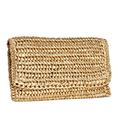 Straw Clutch - predominant colour: camel; occasions: evening; type of pattern: standard; style: clutch; length: hand carry; size: standard; material: macrame/raffia/straw; pattern: plain; finish: plain; embellishment: chain/metal; season: s/s 2015; wardrobe: event