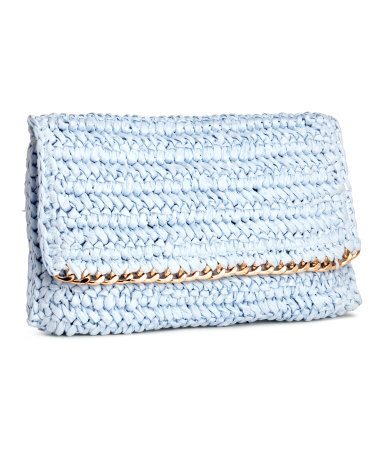 Straw Clutch - predominant colour: pale blue; secondary colour: gold; occasions: evening; type of pattern: standard; style: clutch; length: hand carry; size: standard; material: macrame/raffia/straw; pattern: plain; finish: plain; embellishment: chain/metal; season: s/s 2015; wardrobe: event