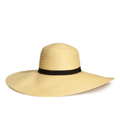 Straw Hat - predominant colour: camel; secondary colour: black; occasions: casual, holiday; type of pattern: standard; embellishment: ribbon; style: wide brimmed; size: large; material: macrame/raffia/straw; pattern: plain; season: s/s 2015; wardrobe: holiday