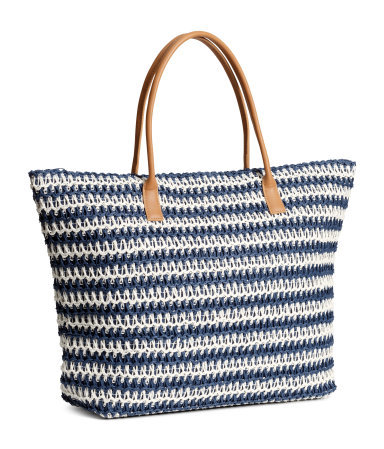 Shopper - secondary colour: ivory/cream; predominant colour: navy; occasions: casual, holiday; type of pattern: standard; style: tote; length: shoulder (tucks under arm); size: oversized; material: macrame/raffia/straw; finish: plain; pattern: horizontal stripes; season: s/s 2015; wardrobe: highlight