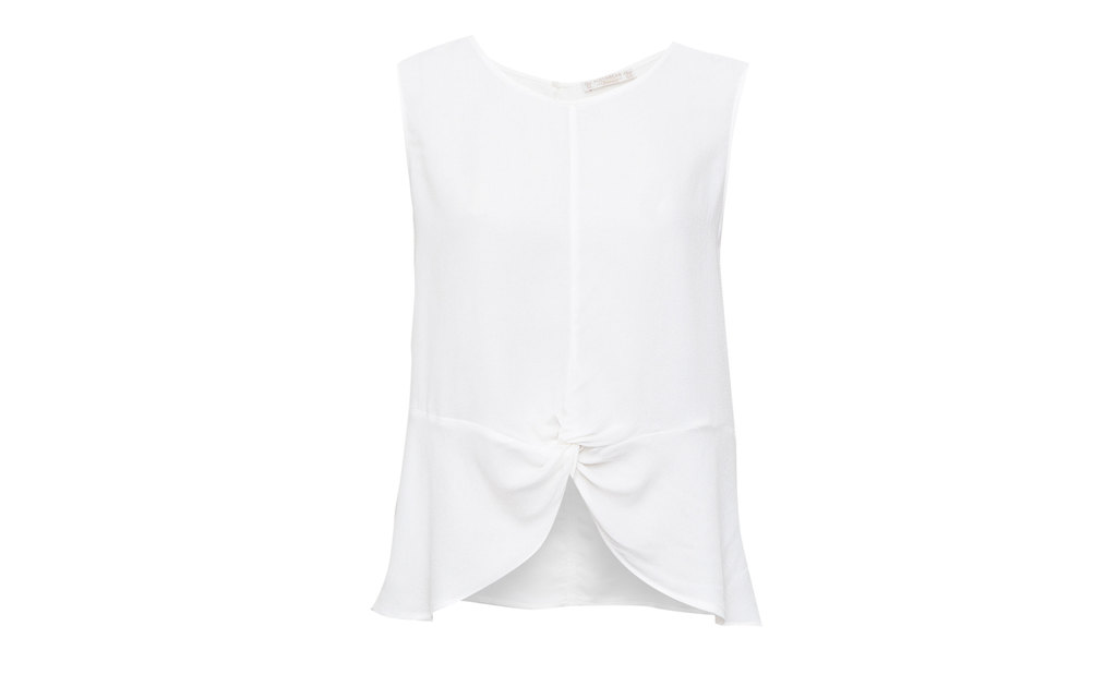 Top With Front Knot - neckline: round neck; pattern: plain; sleeve style: sleeveless; predominant colour: white; occasions: casual; length: standard; style: top; fibres: viscose/rayon - 100%; fit: body skimming; sleeve length: sleeveless; pattern type: fabric; texture group: other - light to midweight; season: s/s 2015