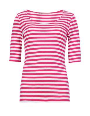 Pure Cotton Half Sleeve Striped T Shirt - pattern: horizontal stripes; style: t-shirt; secondary colour: white; predominant colour: hot pink; occasions: casual; length: standard; neckline: scoop; fibres: cotton - 100%; fit: body skimming; sleeve length: short sleeve; sleeve style: standard; pattern type: fabric; texture group: jersey - stretchy/drapey; season: s/s 2015; pattern size: big & busy (top)