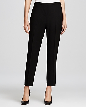 Marcia Slim Ankle Pants - pattern: plain; pocket detail: small back pockets; waist: mid/regular rise; predominant colour: black; occasions: casual, work, creative work; length: ankle length; fibres: polyester/polyamide - 100%; fit: slim leg; texture group: woven light midweight; style: standard; season: s/s 2015; wardrobe: basic