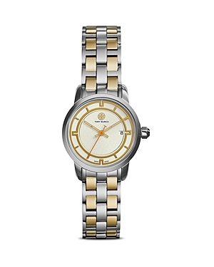 The Tory Watch, 28mm - predominant colour: silver; secondary colour: gold; occasions: casual, work, creative work; style: metal bracelet; size: standard; material: chain/metal; finish: metallic; pattern: plain; season: s/s 2015