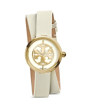 The Reva Double Wrap Watch, 28mm - predominant colour: ivory/cream; secondary colour: gold; occasions: casual, work, creative work; style: double strap; size: standard; material: leather; finish: plain; pattern: plain; embellishment: chain/metal; season: s/s 2015