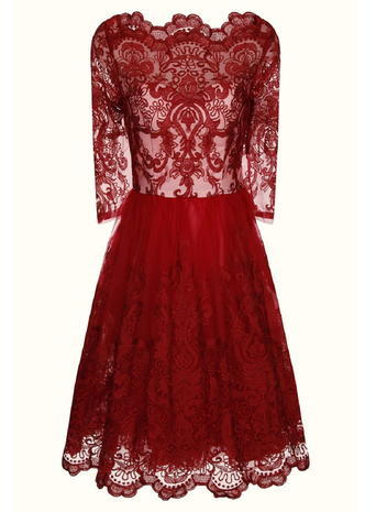 Womens **Chi Chi London Baroque Style Tea Dress Red - length: below the knee; neckline: high neck; back detail: back revealing; predominant colour: true red; occasions: evening, occasion; fit: fitted at waist & bust; style: fit & flare; fibres: polyester/polyamide - 100%; sleeve length: 3/4 length; sleeve style: standard; texture group: lace; pattern type: fabric; pattern: patterned/print; embellishment: lace; season: s/s 2015; wardrobe: event