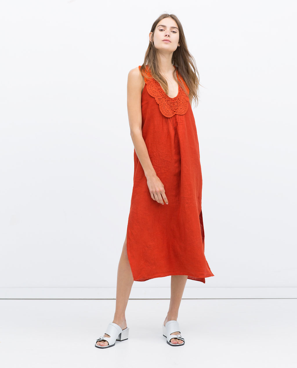 Linen Dress With Bib Front - style: tunic; length: calf length; fit: loose; pattern: plain; sleeve style: sleeveless; predominant colour: bright orange; occasions: casual; neckline: scoop; sleeve length: sleeveless; texture group: linen; pattern type: fabric; season: s/s 2015; wardrobe: highlight