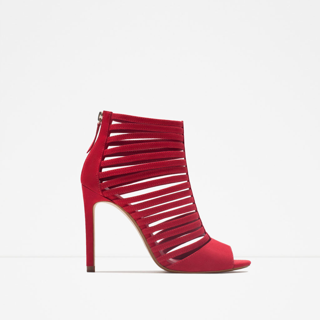 Multi Strap High Heel Sandal - predominant colour: true red; occasions: evening, occasion; material: suede; heel: stiletto; toe: open toe/peeptoe; style: strappy; finish: plain; pattern: plain; heel height: very high; season: s/s 2015