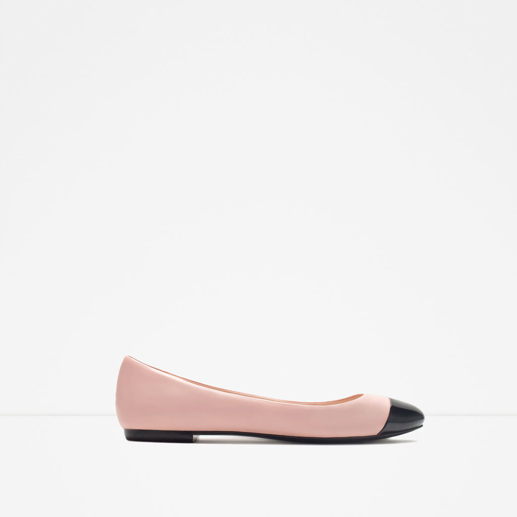 Cap Toe Ballerina - predominant colour: pink; secondary colour: black; occasions: casual, work, creative work; material: faux leather; heel height: flat; toe: round toe; style: ballerinas / pumps; finish: plain; pattern: colourblock; season: s/s 2015