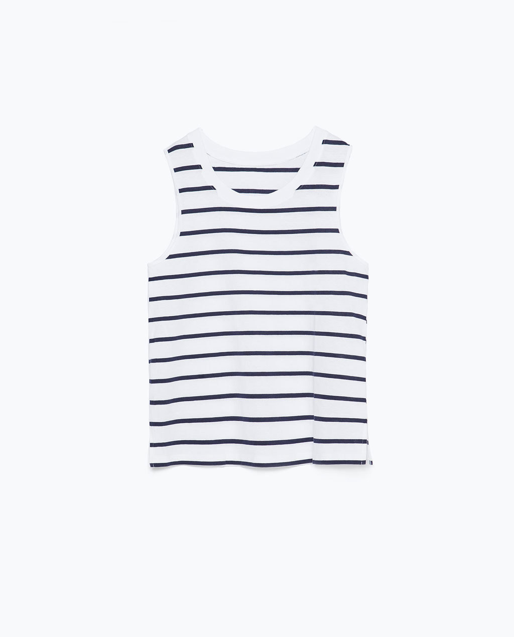 Cotton Strappy Tank Top - neckline: round neck; sleeve style: standard vest straps/shoulder straps; pattern: horizontal stripes; style: vest top; predominant colour: white; secondary colour: navy; occasions: casual; length: standard; fibres: cotton - 100%; fit: straight cut; sleeve length: sleeveless; pattern type: fabric; pattern size: standard; texture group: jersey - stretchy/drapey; season: s/s 2015; multicoloured: multicoloured; wardrobe: basic