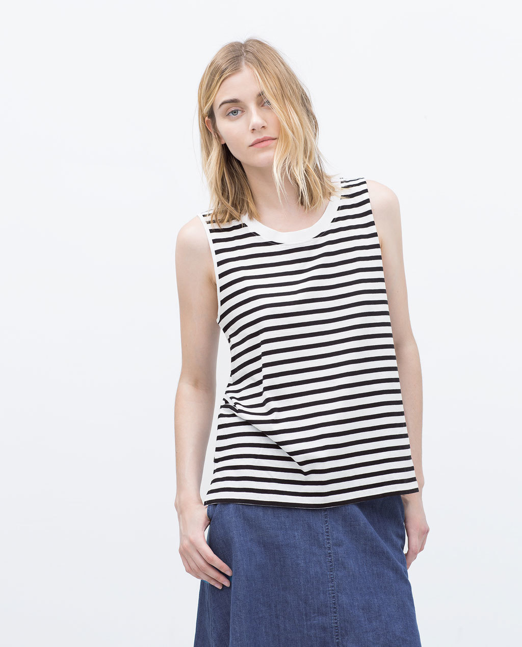 Cotton Strappy Tank Top - neckline: round neck; pattern: horizontal stripes; sleeve style: sleeveless; predominant colour: white; secondary colour: black; occasions: casual; length: standard; style: top; fit: body skimming; sleeve length: sleeveless; pattern type: fabric; pattern size: standard; texture group: jersey - stretchy/drapey; season: s/s 2015