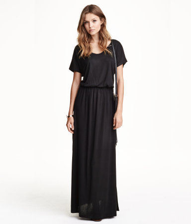Maxi Dress - neckline: round neck; fit: fitted at waist; pattern: plain; style: maxi dress; predominant colour: black; occasions: casual; length: floor length; sleeve length: short sleeve; sleeve style: standard; pattern type: fabric; texture group: jersey - stretchy/drapey; season: s/s 2015