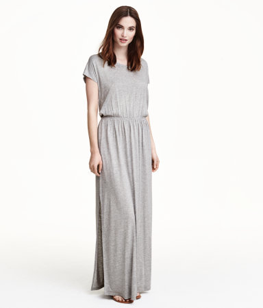 Maxi Dress - fit: fitted at waist; pattern: plain; style: maxi dress; predominant colour: light grey; occasions: casual; length: floor length; neckline: crew; sleeve length: short sleeve; sleeve style: standard; texture group: jersey - stretchy/drapey; season: s/s 2015