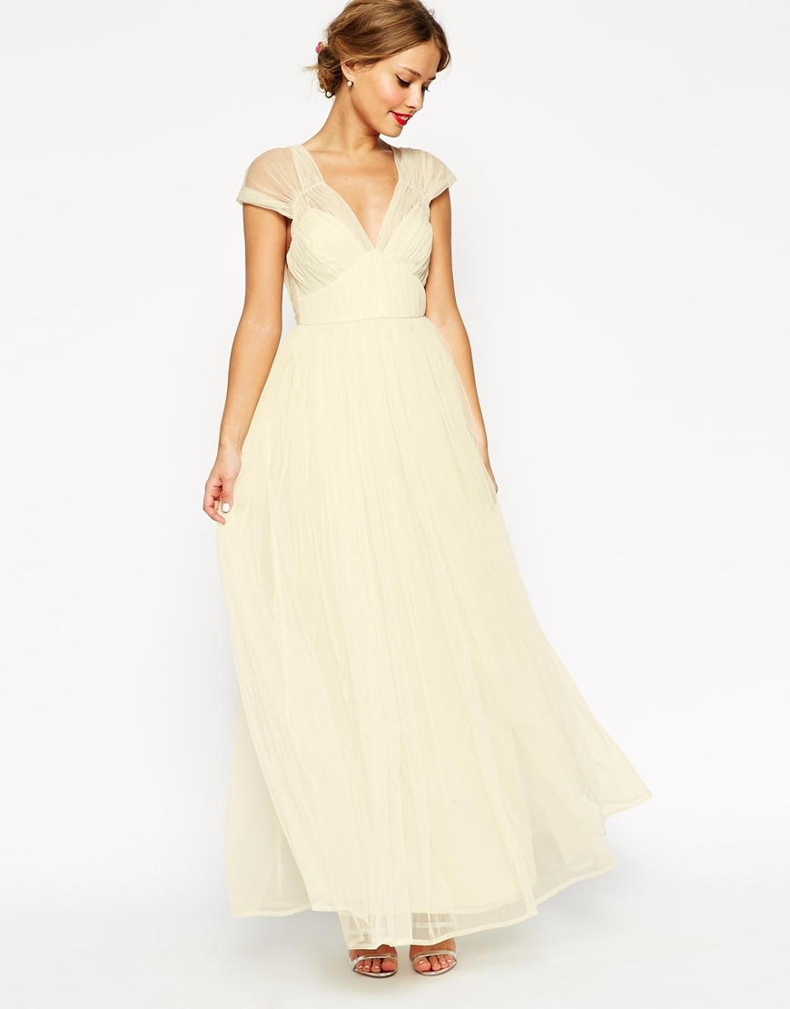 Wedding Ruched Mesh Panel Maxi Dress Cream - neckline: low v-neck; sleeve style: capped; pattern: plain; style: maxi dress; length: ankle length; predominant colour: ivory/cream; fit: fitted at waist & bust; fibres: polyester/polyamide - 100%; sleeve length: short sleeve; texture group: sheer fabrics/chiffon/organza etc.; pattern type: fabric; season: s/s 2015; wardrobe: highlight