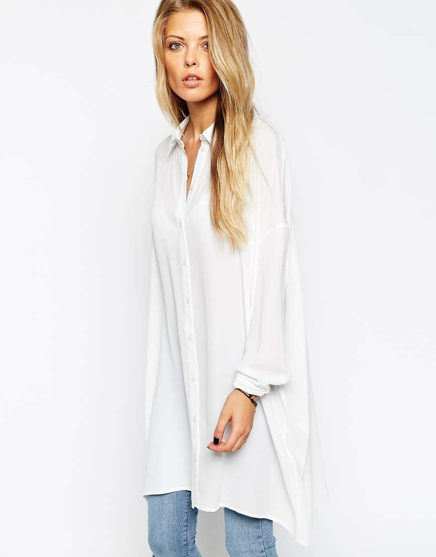 Oversized Longline Blouse Cream - neckline: shirt collar/peter pan/zip with opening; pattern: plain; style: blouse; predominant colour: ivory/cream; occasions: casual; fit: loose; length: mid thigh; sleeve length: long sleeve; sleeve style: standard; texture group: cotton feel fabrics; pattern type: fabric; season: s/s 2015; wardrobe: basic