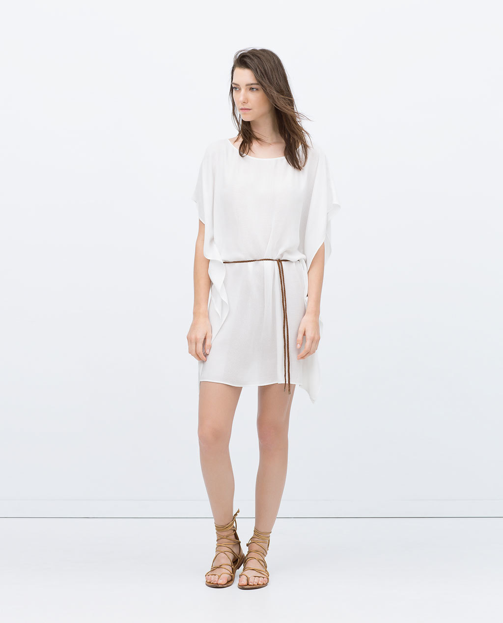 Full Tunic With Plaited Belt - style: tunic; length: mid thigh; neckline: round neck; sleeve style: dolman/batwing; fit: loose; pattern: plain; waist detail: belted waist/tie at waist/drawstring; predominant colour: white; occasions: casual, holiday; sleeve length: half sleeve; texture group: cotton feel fabrics; pattern type: fabric; season: s/s 2015; wardrobe: basic
