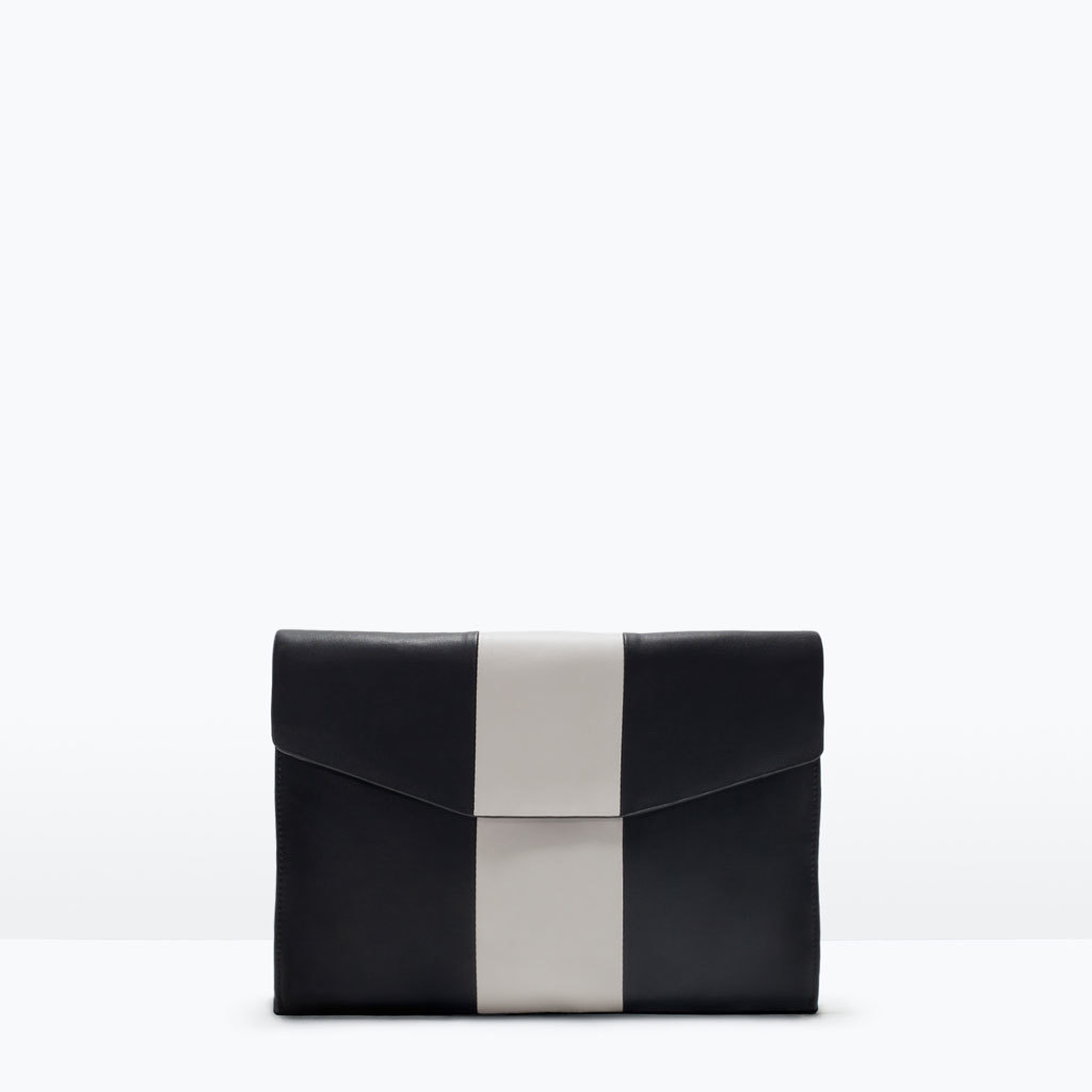 Combined Clutch Bag - secondary colour: silver; predominant colour: black; occasions: evening, occasion; type of pattern: standard; style: clutch; length: hand carry; size: small; material: faux leather; finish: plain; pattern: colourblock; season: s/s 2015; wardrobe: event
