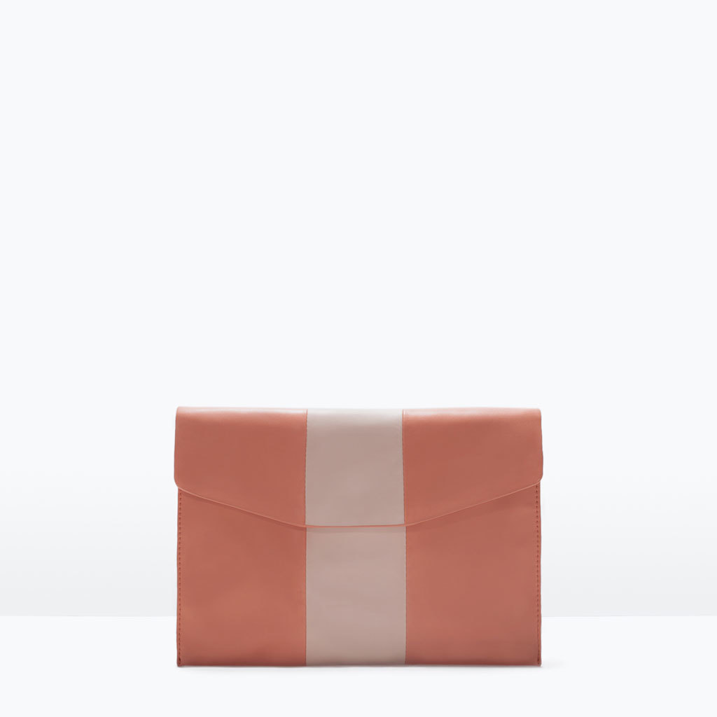 Combined Clutch Bag - secondary colour: ivory/cream; predominant colour: coral; occasions: evening, occasion; type of pattern: standard; style: clutch; length: hand carry; size: standard; material: faux leather; finish: plain; pattern: colourblock; season: s/s 2015; wardrobe: event
