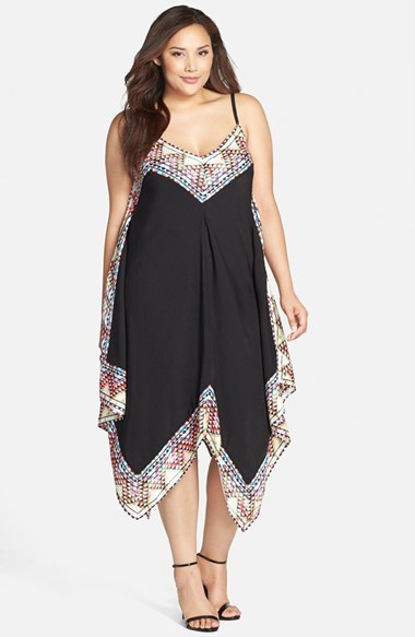 'festival Border' Maxi Dress (Plus Size) - length: below the knee; neckline: low v-neck; sleeve style: spaghetti straps; fit: loose; predominant colour: black; occasions: casual, evening, occasion; style: asymmetric (hem); sleeve length: sleeveless; pattern type: fabric; pattern size: standard; pattern: patterned/print; texture group: woven light midweight; season: s/s 2015; wardrobe: highlight