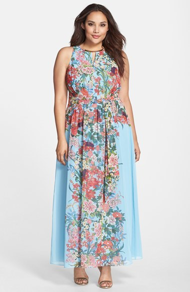 Embellished Keyhole Floral Print Chiffon Maxi Dress (Plus Size) - fit: fitted at waist; sleeve style: sleeveless; style: maxi dress; length: ankle length; predominant colour: pale blue; neckline: crew; sleeve length: sleeveless; texture group: sheer fabrics/chiffon/organza etc.; pattern: florals; trends: exotic blooms; season: s/s 2015