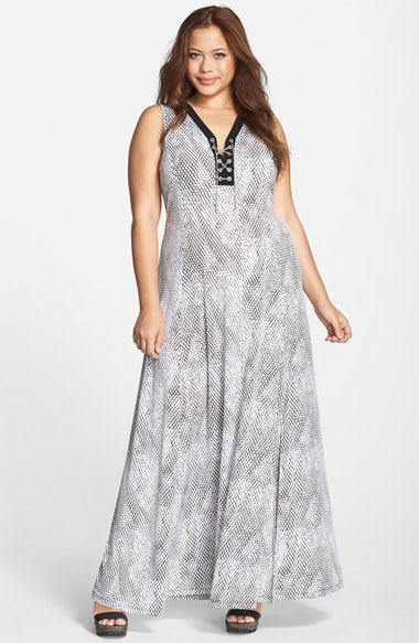 'serpent' Print Sleeveless Lace Up Jersey Maxi Dress (Plus Size) - neckline: low v-neck; sleeve style: sleeveless; style: maxi dress; predominant colour: light grey; length: floor length; fit: fitted at waist & bust; sleeve length: sleeveless; pattern: patterned/print; texture group: jersey - stretchy/drapey; season: s/s 2015