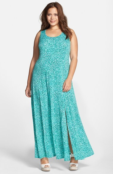 'rain' Print Jersey Maxi Dress (Plus Size) - neckline: round neck; sleeve style: sleeveless; style: maxi dress; length: ankle length; predominant colour: turquoise; fit: body skimming; sleeve length: sleeveless; pattern: patterned/print; texture group: jersey - stretchy/drapey; season: s/s 2015; wardrobe: highlight