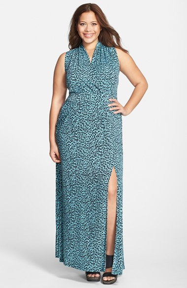 'abstract Jaguar' Side Slit Sleeveless Maxi Dress (Plus Size) - neckline: v-neck; sleeve style: sleeveless; style: maxi dress; predominant colour: turquoise; length: floor length; fit: body skimming; sleeve length: sleeveless; pattern: patterned/print; texture group: jersey - stretchy/drapey; season: s/s 2015; wardrobe: highlight