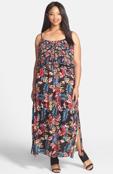 'amazonia' Popover Maxi Dress (Plus Size) - sleeve style: spaghetti straps; fit: fitted at waist; style: maxi dress; length: ankle length; waist detail: fitted waist; secondary colour: pink; predominant colour: black; occasions: casual, holiday; neckline: scoop; fibres: viscose/rayon - 100%; sleeve length: sleeveless; pattern type: fabric; pattern: florals; texture group: jersey - stretchy/drapey; season: s/s 2015; multicoloured: multicoloured; wardrobe: highlight