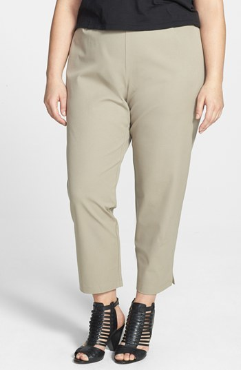 Stretch Organic Cotton Ankle Pants (Plus Size) - pattern: plain; waist: mid/regular rise; predominant colour: stone; length: ankle length; fit: tapered; texture group: woven light midweight; style: standard; season: s/s 2015; wardrobe: highlight