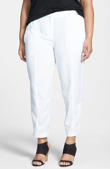 Tencel Button Tab Cuff Ankle Pants (Plus Size) - pattern: plain; waist: mid/regular rise; predominant colour: white; length: ankle length; texture group: cotton feel fabrics; fit: straight leg; style: standard; season: s/s 2015; wardrobe: highlight