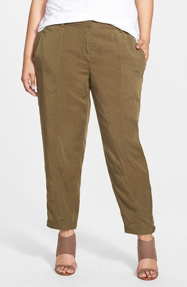 Tencel Button Tab Cuff Ankle Pants (Plus Size) - pattern: plain; waist: mid/regular rise; predominant colour: tan; length: ankle length; fit: straight leg; texture group: woven light midweight; style: standard; season: s/s 2015; wardrobe: highlight