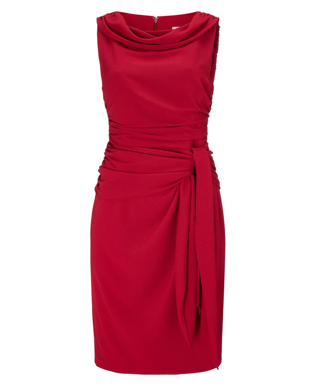 Lilia Dress - style: shift; neckline: cowl/draped neck; pattern: plain; sleeve style: sleeveless; waist detail: belted waist/tie at waist/drawstring; predominant colour: true red; occasions: evening, occasion; length: just above the knee; fit: body skimming; fibres: polyester/polyamide - 100%; sleeve length: sleeveless; pattern type: fabric; texture group: jersey - stretchy/drapey; season: s/s 2015; wardrobe: event