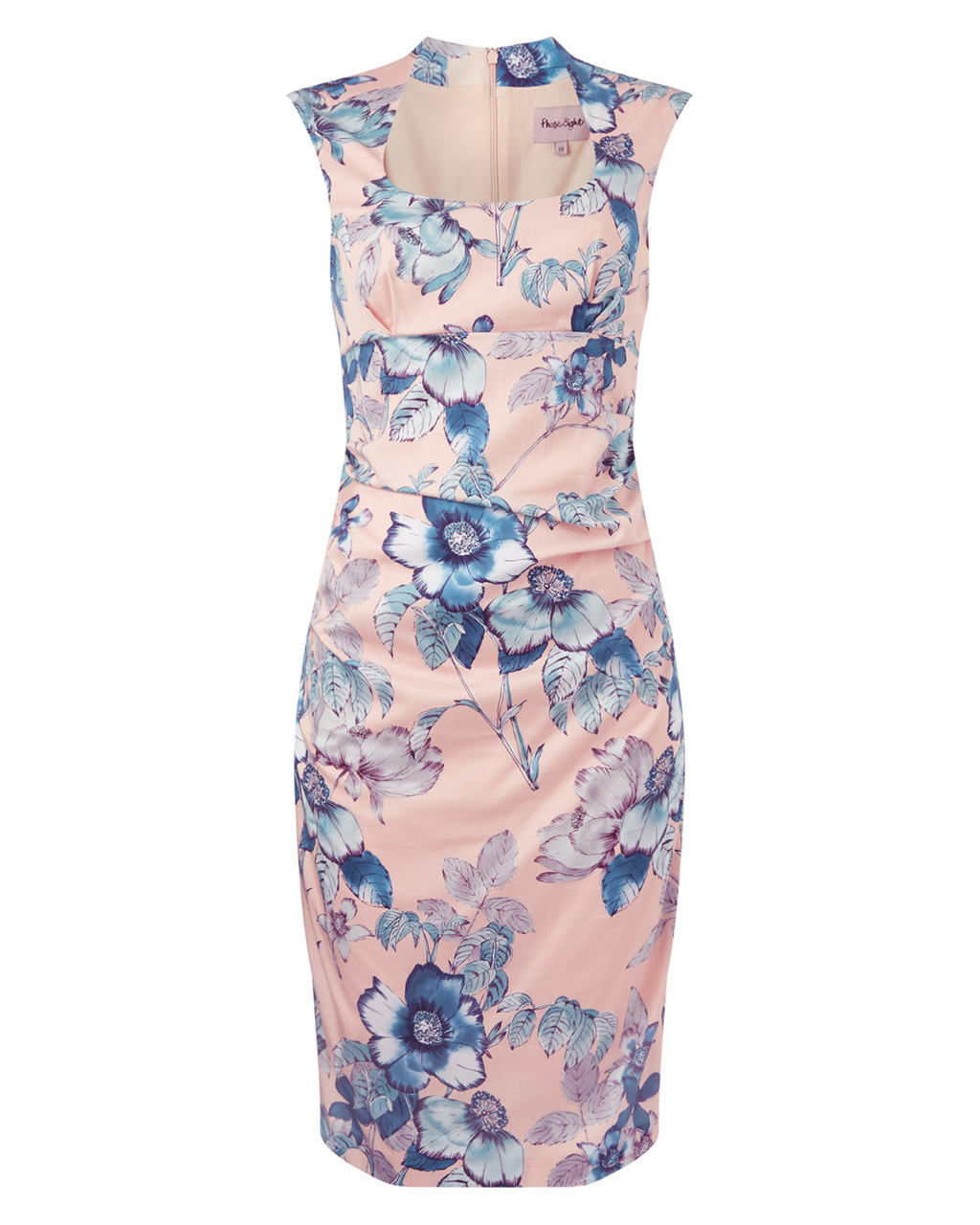 Rapunzel Print Dress - sleeve style: capped; style: bodycon; predominant colour: blush; secondary colour: pale blue; occasions: evening, occasion; length: on the knee; fit: body skimming; neckline: scoop; fibres: cotton - stretch; sleeve length: short sleeve; pattern type: fabric; pattern: florals; texture group: woven light midweight; trends: exotic blooms; season: s/s 2015; multicoloured: multicoloured; wardrobe: event
