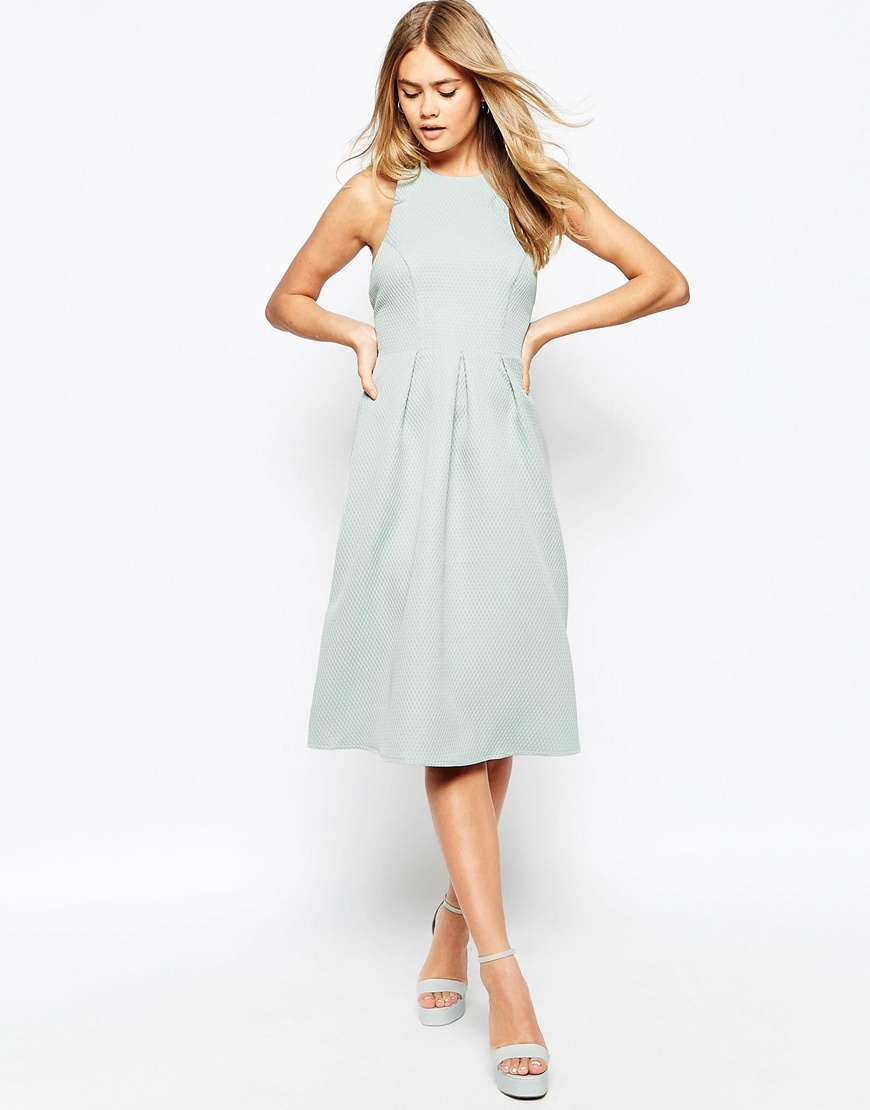 Textured Midi Dress With Halterneck Detail Teal - length: below the knee; pattern: plain; sleeve style: sleeveless; predominant colour: pale blue; occasions: evening, occasion, creative work; fit: fitted at waist & bust; style: fit & flare; fibres: polyester/polyamide - stretch; neckline: crew; hip detail: adds bulk at the hips; sleeve length: sleeveless; pattern type: fabric; texture group: other - light to midweight; season: s/s 2015; wardrobe: highlight