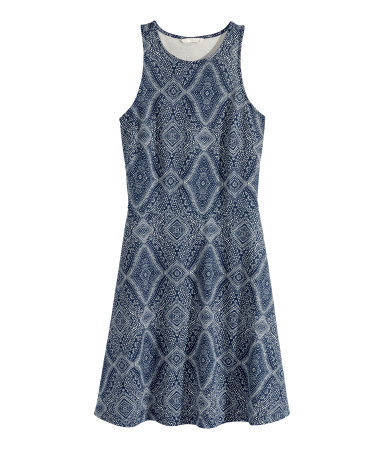 Sleeveless Dress - sleeve style: sleeveless; predominant colour: charcoal; occasions: casual; length: just above the knee; fit: fitted at waist & bust; style: fit & flare; fibres: polyester/polyamide - stretch; neckline: crew; sleeve length: sleeveless; pattern type: fabric; pattern: patterned/print; texture group: jersey - stretchy/drapey; season: s/s 2015; wardrobe: highlight