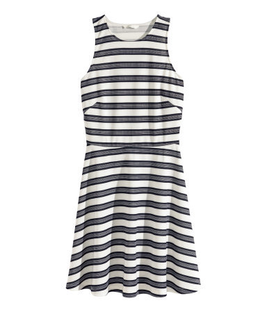 Sleeveless Dress - pattern: horizontal stripes; sleeve style: sleeveless; predominant colour: black; occasions: casual; length: just above the knee; fit: fitted at waist & bust; style: fit & flare; neckline: crew; sleeve length: sleeveless; pattern type: knitted - big stitch; pattern size: standard; texture group: jersey - stretchy/drapey; season: s/s 2015