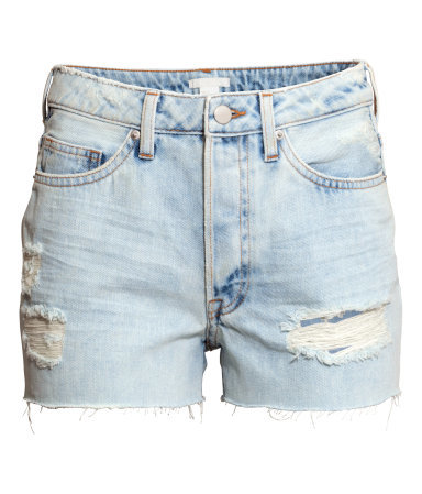 Denim Shorts - pattern: plain; pocket detail: traditional 5 pocket; waist: mid/regular rise; predominant colour: denim; occasions: casual; fibres: cotton - 100%; texture group: denim; pattern type: fabric; season: s/s 2015; style: denim; length: short shorts; fit: slim leg; wardrobe: highlight