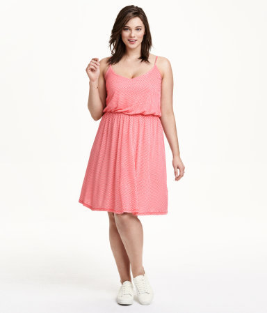 + Jersey Dress - neckline: low v-neck; sleeve style: spaghetti straps; fit: fitted at waist; pattern: plain; style: blouson; waist detail: elasticated waist; predominant colour: pink; occasions: casual, holiday; length: on the knee; sleeve length: sleeveless; pattern type: knitted - big stitch; texture group: jersey - stretchy/drapey; season: s/s 2015; wardrobe: highlight