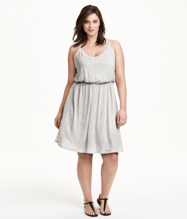 + Jersey Dress - style: shift; sleeve style: spaghetti straps; fit: fitted at waist; pattern: plain; predominant colour: light grey; occasions: casual; length: on the knee; neckline: scoop; sleeve length: sleeveless; pattern type: fabric; texture group: jersey - stretchy/drapey; season: s/s 2015; wardrobe: basic