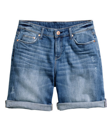 + Denim Shorts - pattern: plain; pocket detail: traditional 5 pocket; waist: mid/regular rise; predominant colour: denim; occasions: casual; fibres: cotton - 100%; texture group: denim; pattern type: fabric; season: s/s 2015; style: denim; length: mid thigh shorts; fit: slim leg; wardrobe: highlight