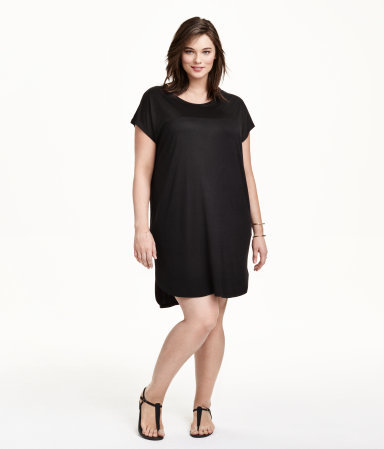 + Jersey Tunic - pattern: plain; style: tunic; predominant colour: black; occasions: casual; fibres: viscose/rayon - 100%; fit: loose; neckline: crew; length: mid thigh; sleeve length: short sleeve; sleeve style: standard; pattern type: fabric; texture group: jersey - stretchy/drapey; season: s/s 2015; wardrobe: basic