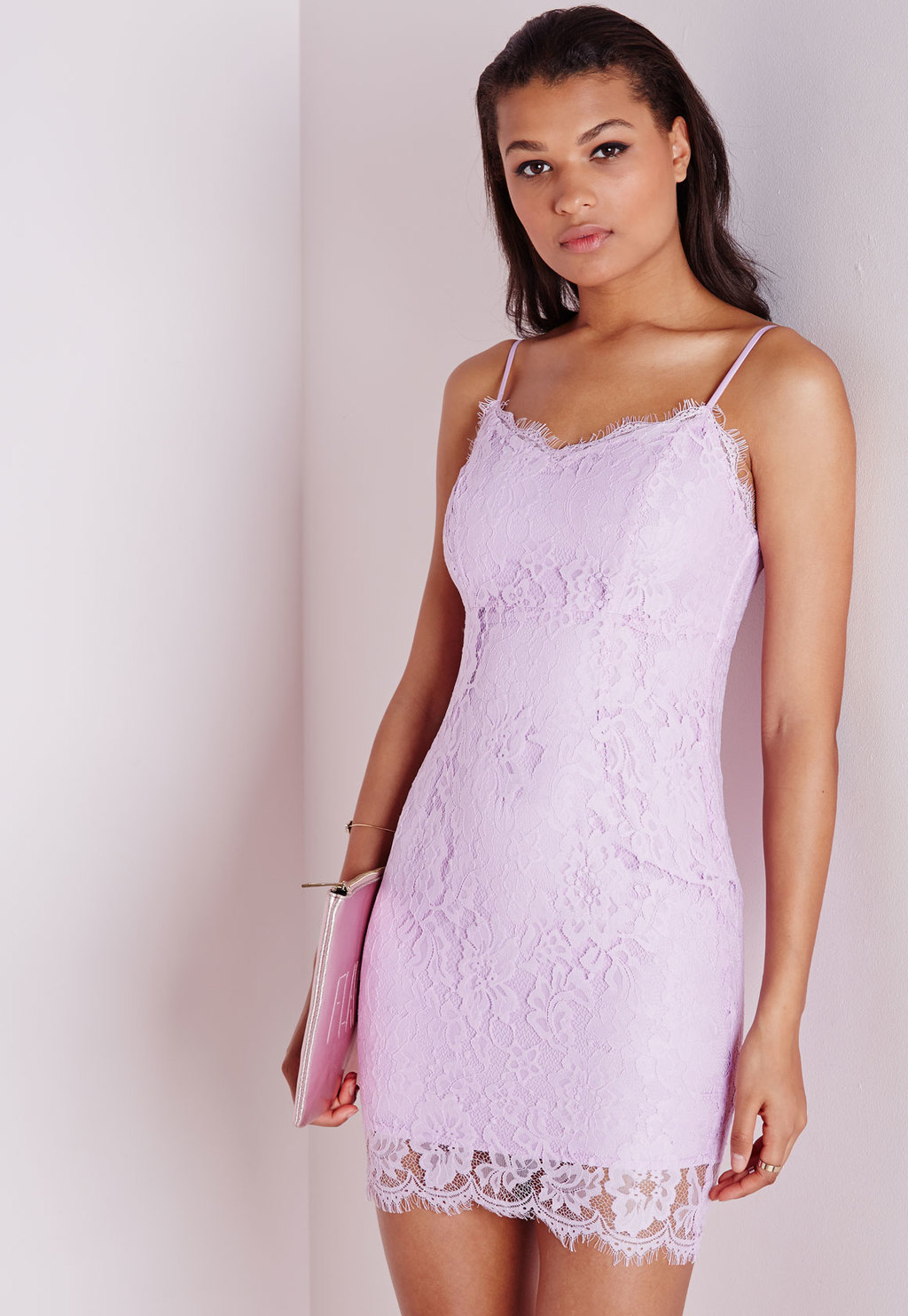 Lace Strappy Bodycon Dress Lilac, Mauve - length: mid thigh; neckline: low v-neck; sleeve style: spaghetti straps; fit: tight; style: bodycon; predominant colour: lilac; occasions: evening, occasion; fibres: polyester/polyamide - stretch; sleeve length: sleeveless; texture group: lace; pattern type: fabric; pattern: patterned/print; embellishment: lace; season: s/s 2015; wardrobe: event
