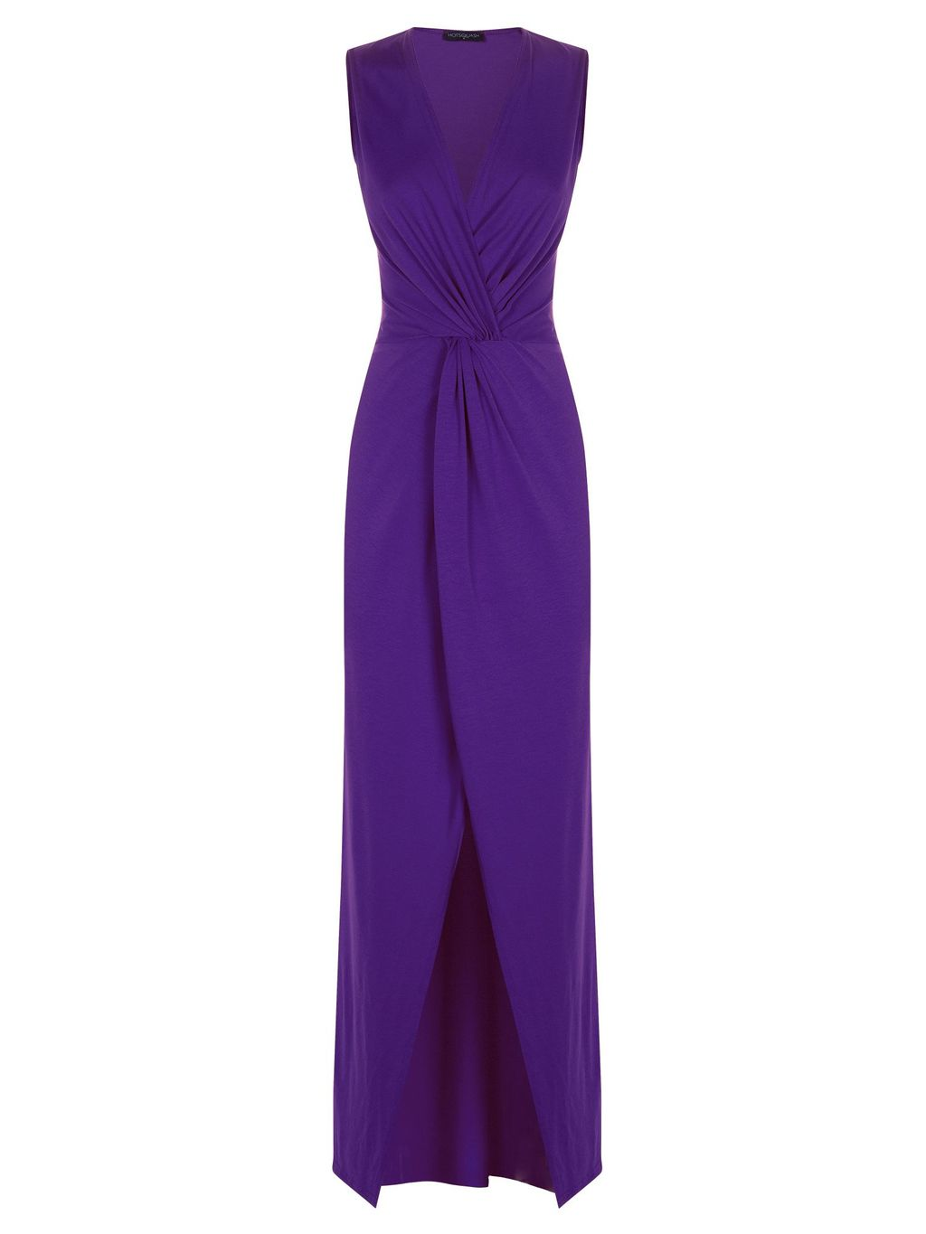 Long Elegant Maxi Dress With Knot Detail, Purple - style: faux wrap/wrap; neckline: low v-neck; pattern: plain; sleeve style: sleeveless; waist detail: twist front waist detail/nipped in at waist on one side/soft pleats/draping/ruching/gathering waist detail; predominant colour: purple; occasions: evening, occasion; length: floor length; fit: body skimming; fibres: polyester/polyamide - stretch; hip detail: slits at hip; sleeve length: sleeveless; pattern type: fabric; texture group: jersey - stretchy/drapey; season: s/s 2015; wardrobe: event
