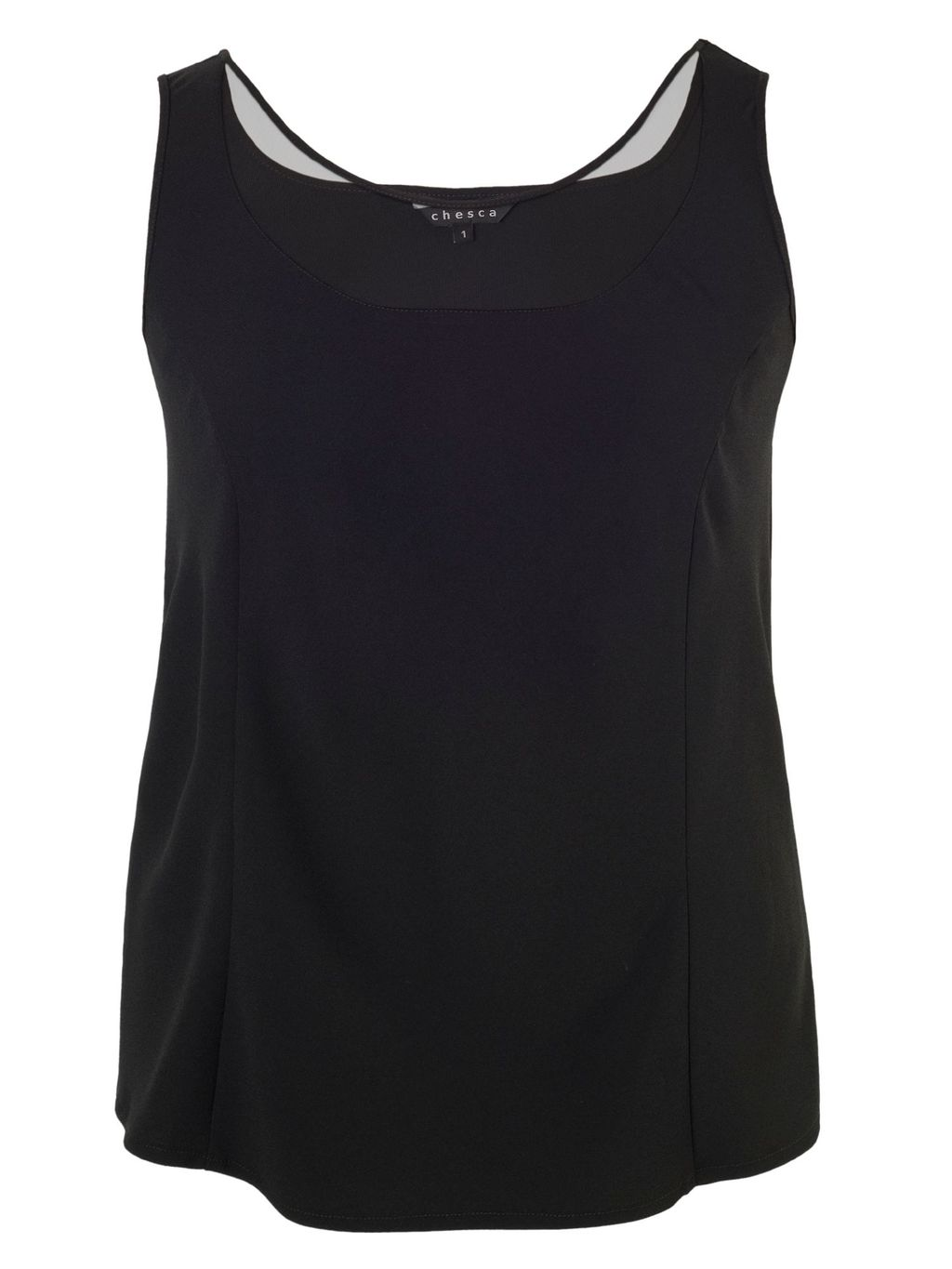 Crepe Camisole With Mesh Trim, Black - neckline: round neck; pattern: plain; sleeve style: sleeveless; predominant colour: black; occasions: casual, creative work; length: standard; style: top; fibres: polyester/polyamide - 100%; fit: body skimming; sleeve length: sleeveless; texture group: crepes; pattern type: fabric; season: s/s 2015