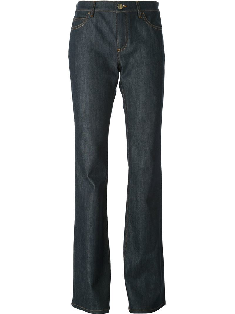 Bootcut Jeans, Women's, Blue - style: bootcut; length: standard; pattern: plain; waist: high rise; pocket detail: traditional 5 pocket; predominant colour: navy; occasions: casual, creative work; fibres: cotton - stretch; jeans detail: dark wash; texture group: denim; pattern type: fabric; season: s/s 2015