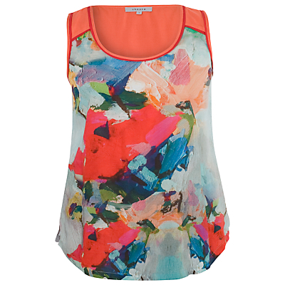 Contrast Print Top, Sky / Coral - neckline: round neck; sleeve style: sleeveless; style: vest top; secondary colour: diva blue; predominant colour: coral; occasions: casual; length: standard; fibres: viscose/rayon - 100%; fit: body skimming; sleeve length: sleeveless; pattern type: fabric; pattern size: light/subtle; pattern: patterned/print; texture group: jersey - stretchy/drapey; season: s/s 2015; multicoloured: multicoloured; wardrobe: highlight