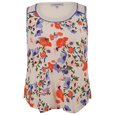 Small Floral Print Camisole Top, Cream - neckline: round neck; sleeve style: sleeveless; predominant colour: ivory/cream; secondary colour: royal blue; occasions: casual; length: standard; style: top; fit: body skimming; sleeve length: sleeveless; pattern type: fabric; pattern size: standard; pattern: florals; texture group: woven light midweight; season: s/s 2015; wardrobe: highlight