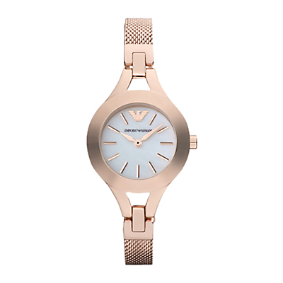Ar7329 Women's Bracelet Strap Watch, Rose Gold/White - secondary colour: ivory/cream; predominant colour: bronze; occasions: casual, work, creative work; style: metal bracelet; size: small/fine; material: chain/metal; finish: metallic; pattern: plain; season: s/s 2015