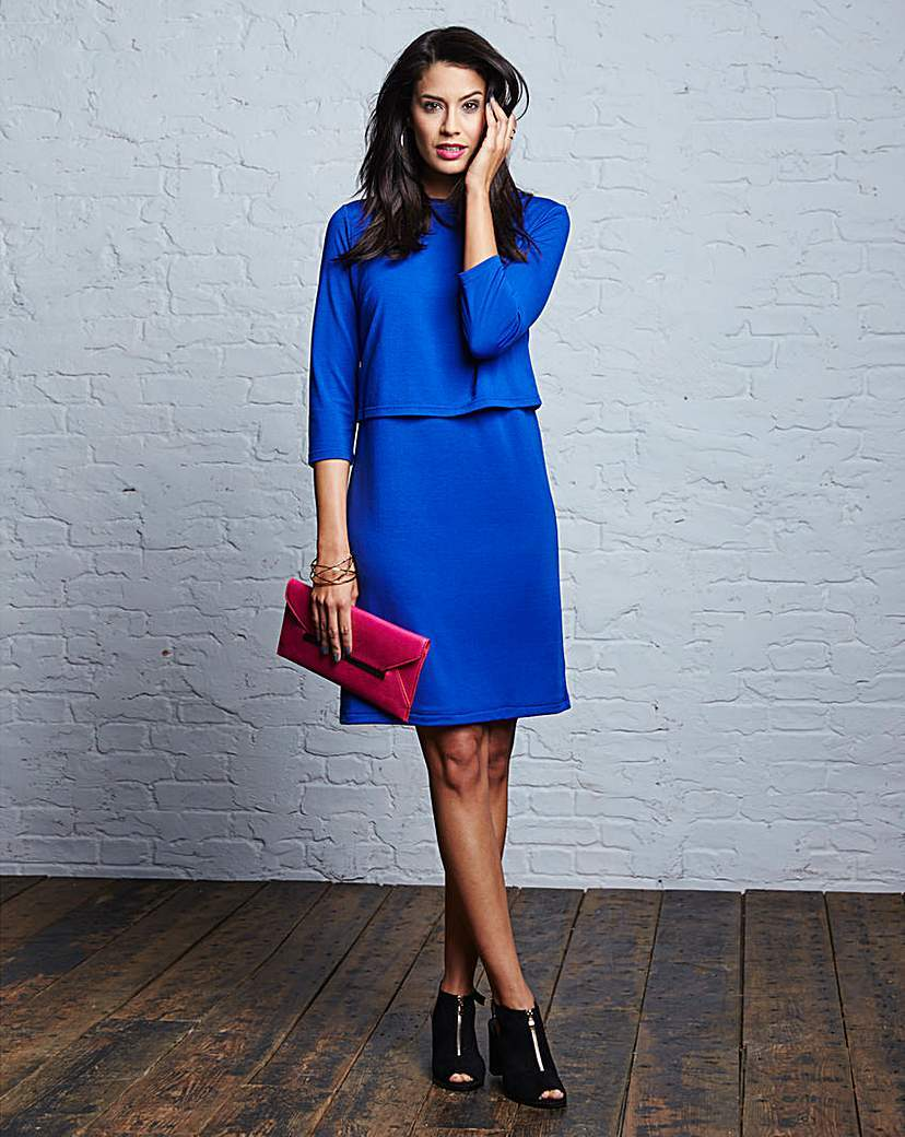 Plain Double Layer Dress - style: shift; pattern: plain; predominant colour: royal blue; occasions: casual, evening, occasion, creative work; length: just above the knee; fit: soft a-line; neckline: crew; sleeve length: 3/4 length; sleeve style: standard; pattern type: fabric; texture group: other - light to midweight; season: s/s 2015; wardrobe: highlight