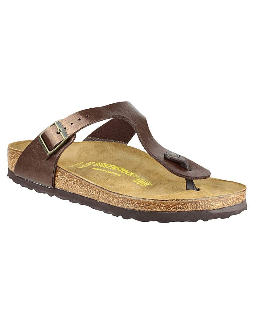 Birkenstock Gizeh - predominant colour: bronze; occasions: casual; material: leather; heel height: flat; heel: standard; toe: toe thongs; style: flip flops; finish: metallic; pattern: plain; shoe detail: tread; season: s/s 2015; wardrobe: highlight